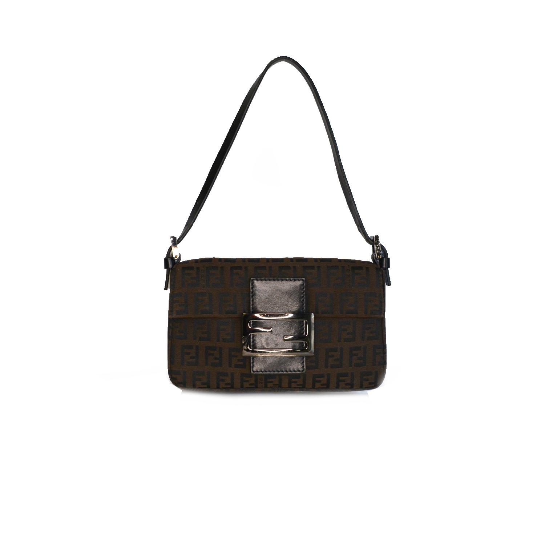 Vintage Fendi Zucchino Monogram Micro Baguette Mini Shoulder Bag in Brown   NITRYL
