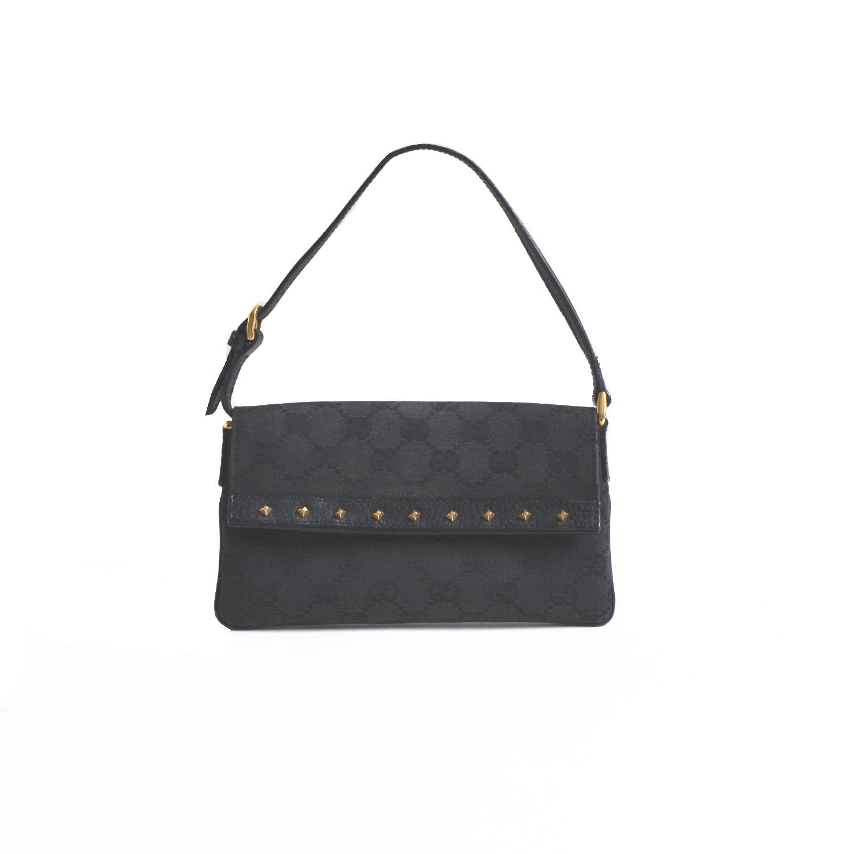 Vintage Gucci Monogram Studded Mini Pochette Shoulder Bag in Black | NITRYL