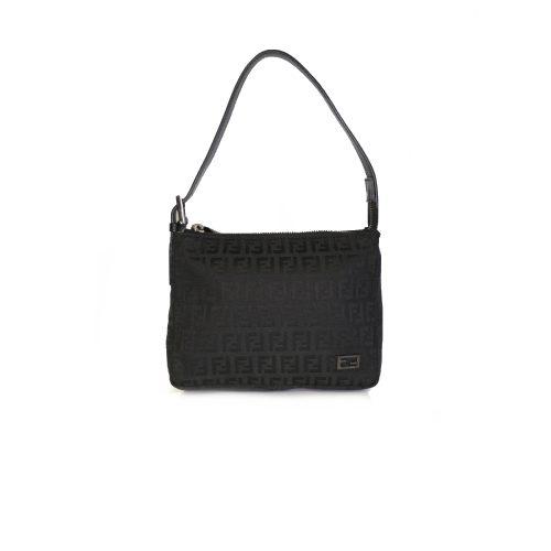 Vintage Fendi Zucchino Monogram Mini Shoulder Bag in Black | NITRYL
