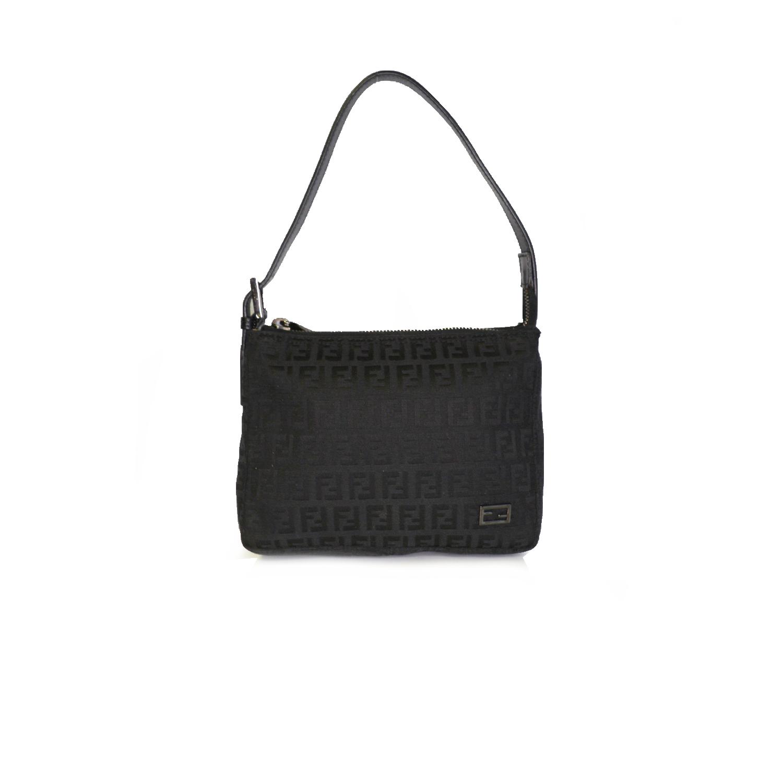 Vintage Fendi Zucchino Monogram Mini Shoulder Bag in Black   NITRYL