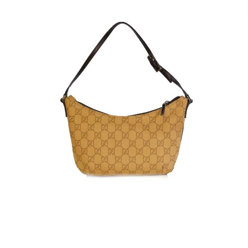 Vintage Gucci Monogram Crescent Mini Shoulder Bag in Beige | NITRYL