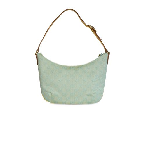 Vintage Gucci Monogram Crescent Mini Shoulder Bag in Turquoise | NITRYL