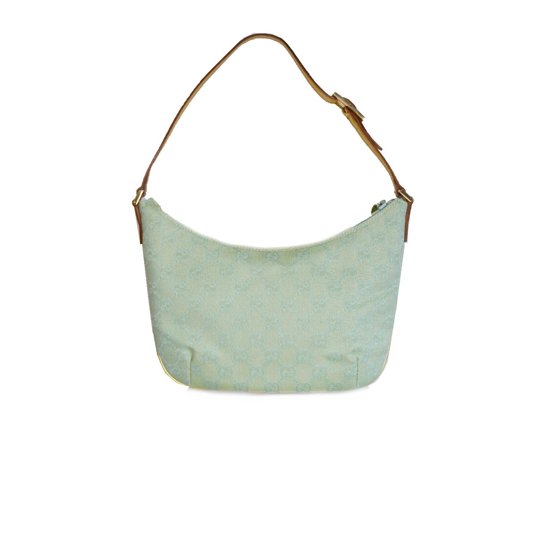 Vintage Gucci Monogram Crescent Mini Shoulder Bag in Turquoise   NITRYL