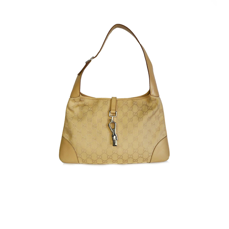 Vintage Gucci Monogram Shoulder Bag in Beige   NITRYL