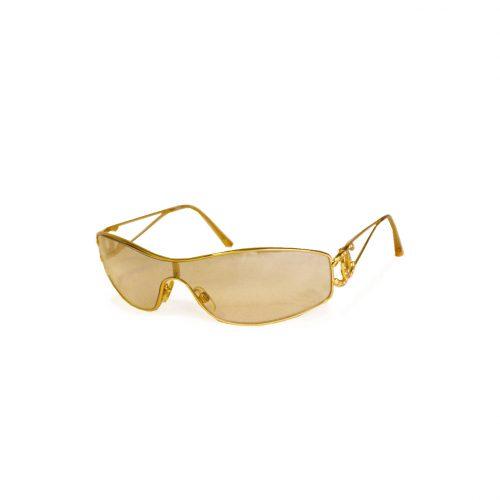 Vintage Chanel Diamante Rimless Shield Sunglasses in Gold | NITRYL