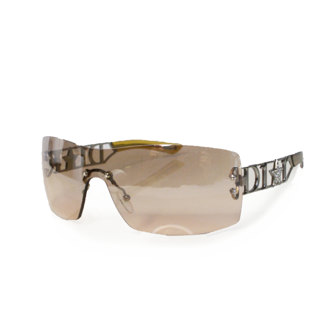 Vintage Dior Diamante Star Spellout Rimless Sunglasses in Blush | NITRYL