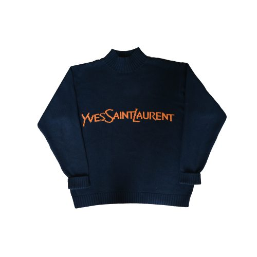 Vintage Yves Saint Laurent Spell Out Mock Neck Jumper in Navy and Orange Size XL | NITRYL