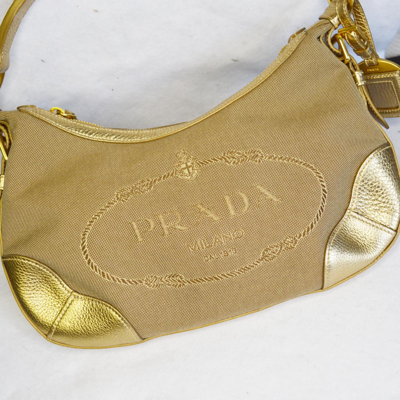 Vintage Prada Baguette Shoulder Bag in Beige and Gold | NITRYL
