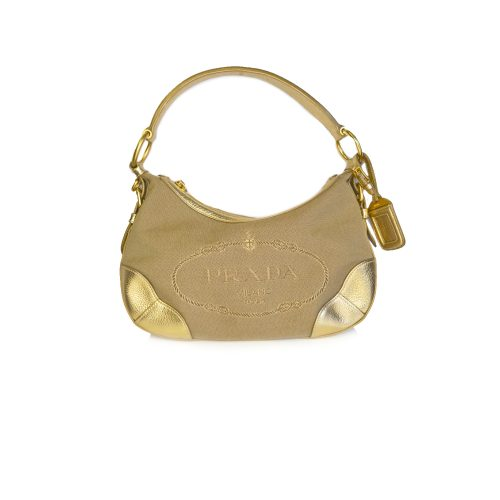Vintage Prada Baguette Shoulder Bag in Beige and Gold | NITRYL