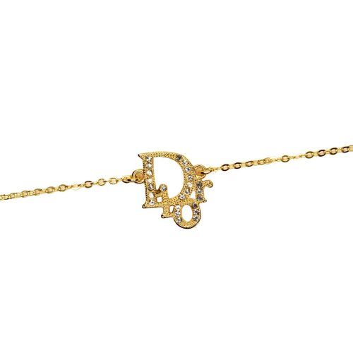 Vintage Dior Diamante Logo Necklace in Gold | NITRYL