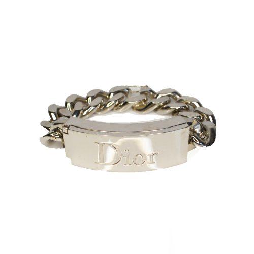 Vintage Dior Logo Lip Gloss Chain Bracelet in Silver | NITRYL