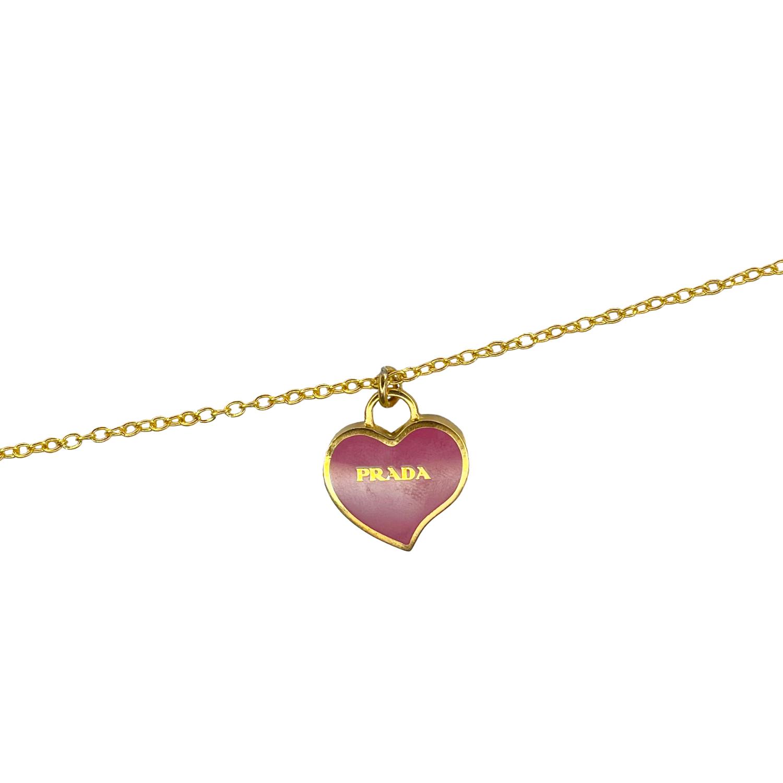 Reworked Prada Heart Pendant Necklace in Pink & Gold | NITRYL