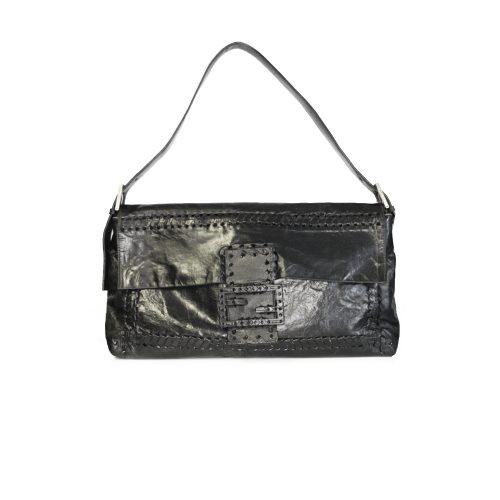 Vintage Fendi Large Leather Baguette Bag in Black | NITRYL