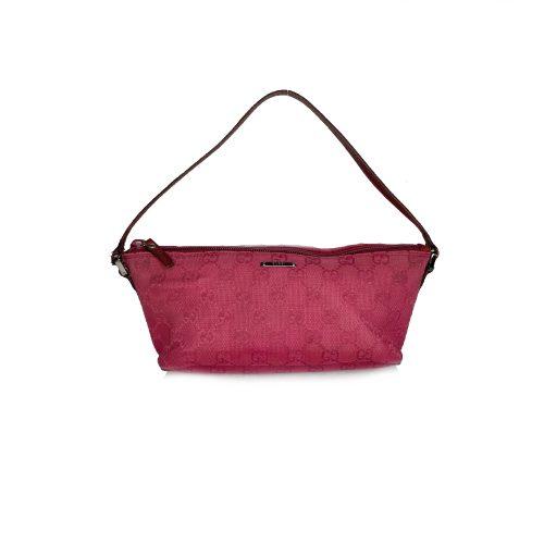 Vintage Gucci Monogram Mini Baguette Bag in Hot Pink | NITRYL