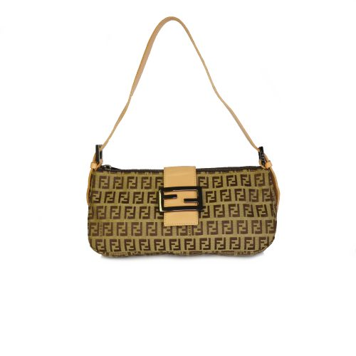 Vintage Fendi Zucchino Monogram Shoulder Baguette Bag in Tan Brown | NITRYL