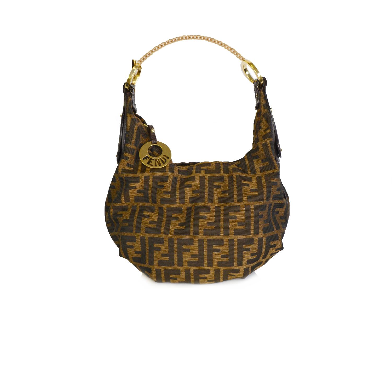 Vintage Fendi Zucca Monogram Shoulder Bag in Brown | NITRYL