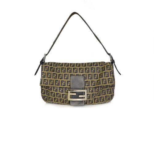 Vintage Fendi Zucchino Monogram Baguette Shoulder Bag in Navy | NITRYL