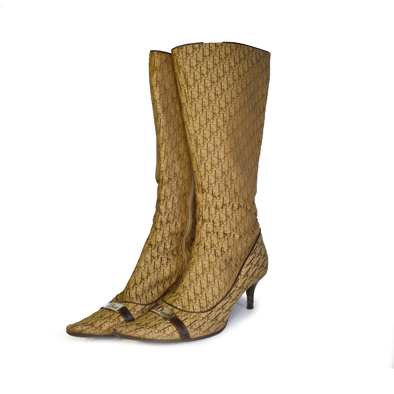 Vintage Dior Monogram Boots in Brown Size 6   NITRYL