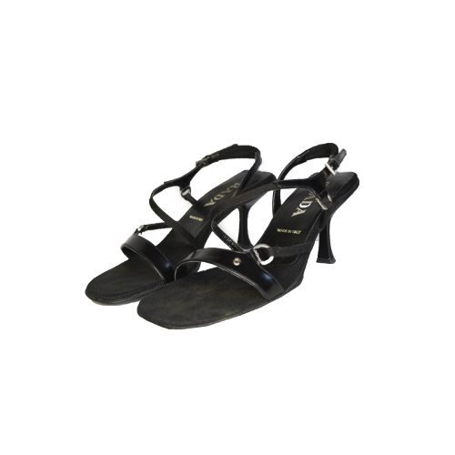 Vintage Prada Strappy Heeled Sandals in Black Size 4.5 | NITRYL