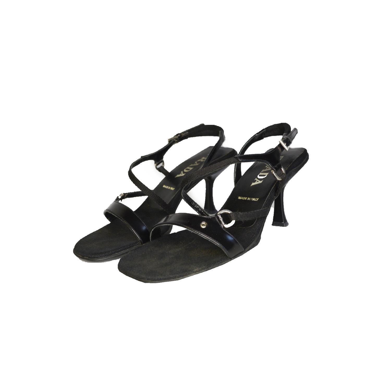 Vintage Prada Strappy Heeled Sandals in Black Size 4.5 | NITRYL