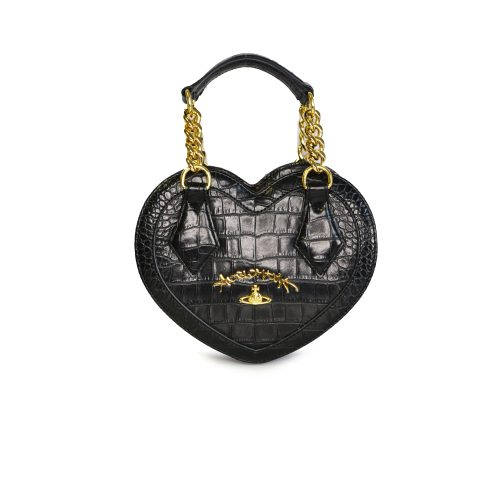 Vivienne Westwood Anglomania Chancery Heart Bag in Black and Gold | NITRYL