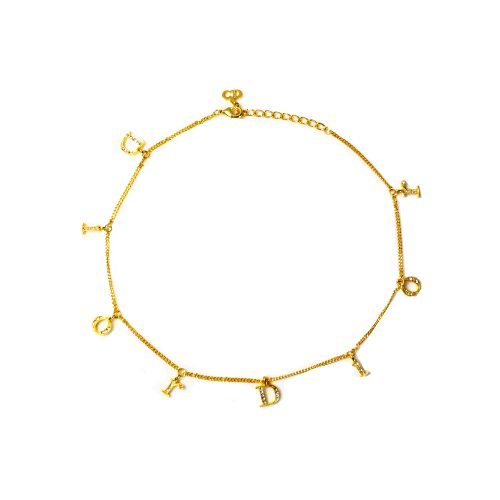 Vintage Dior Diamante Logo Spellout Necklace in Gold | NITRYL