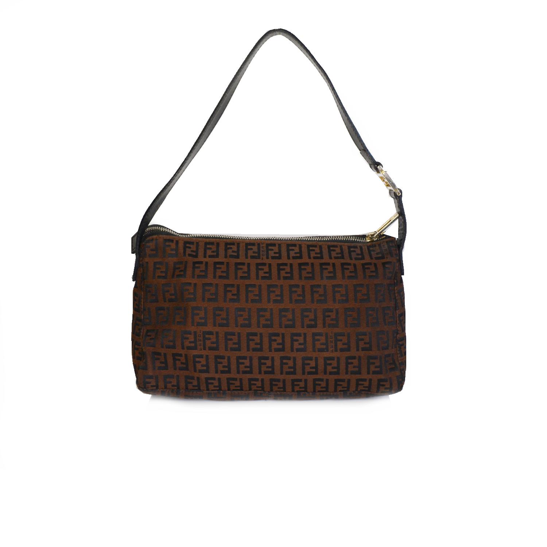 Vintage Fendi Zucchino Monogram Baguette Shoulder Bag in Brown | NITRYL