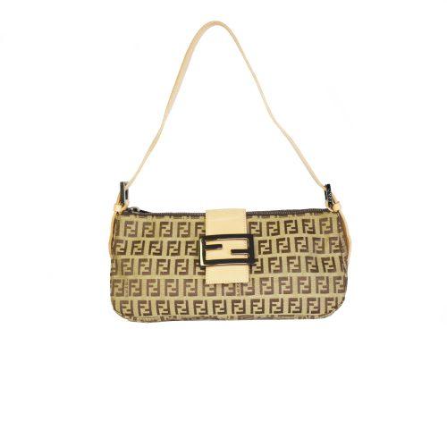 Vintage Fendi Zucchino Monogram Shoulder Baguette Bag in Tan Brown | NITRYL