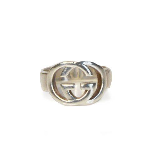 Vintage Gucci GG Logo Interlocking Ring in Solid Silver | NITRYL