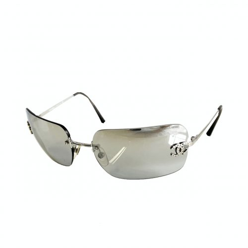 Vintage Chanel Rimless Diamante Sunglasses in Grey | NITRYL