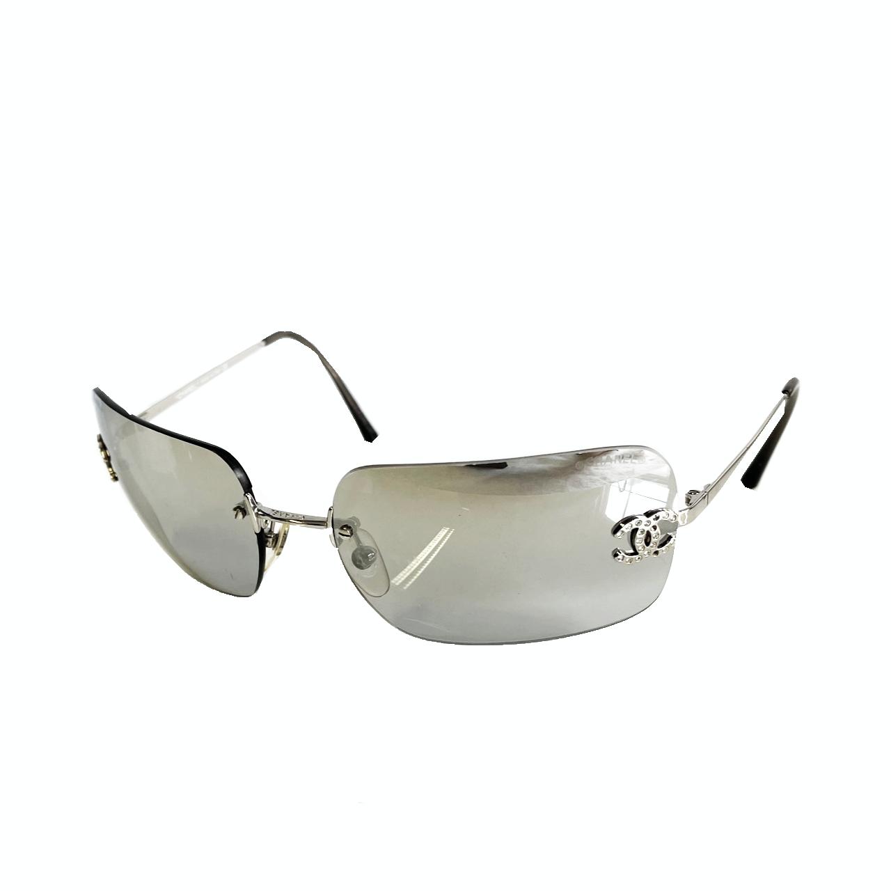 Vintage Chanel Rimless Diamante Sunglasses in Grey   NITRYL