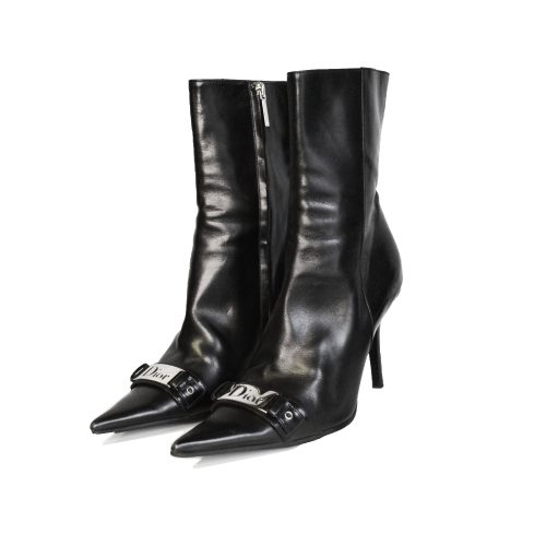 Vintage Dior Logo Leather Pointed Heeled Boots in Black | NITRYL