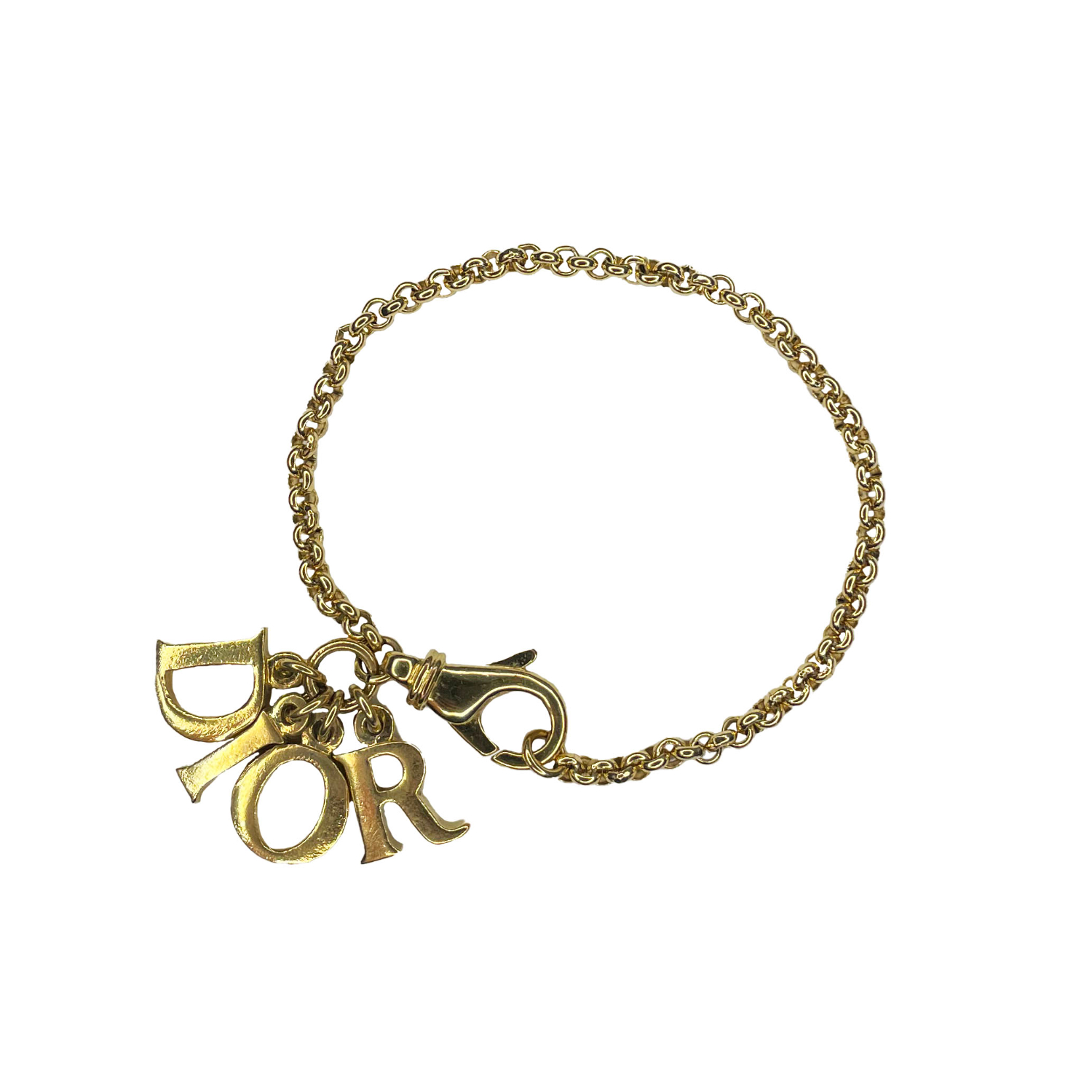 Vintage Dior Spellout Charm Bracelet in Gold | NITRYL