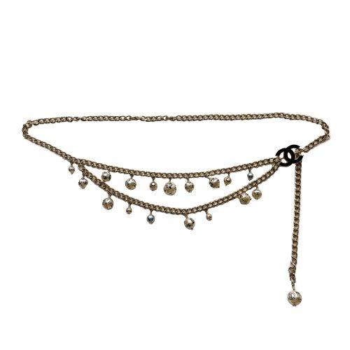 Vintage Chanel 06 Pearl Chain Belt in Gold | NITRYL