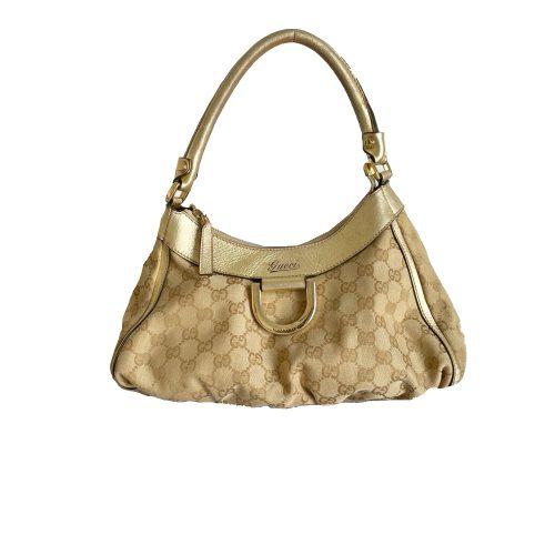 Gucci Monogram Hobo Shoulder Bag in Beige and Gold | NITRYL