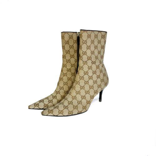 Vintage Gucci Monogram Heeled Ankle Boots in Beige UK 3 | NITRYL