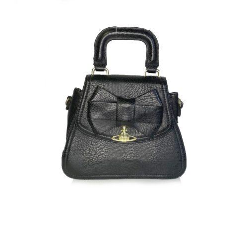 Vivienne Westwood Top Handle Orb Bow Bag in Black | NITRYL