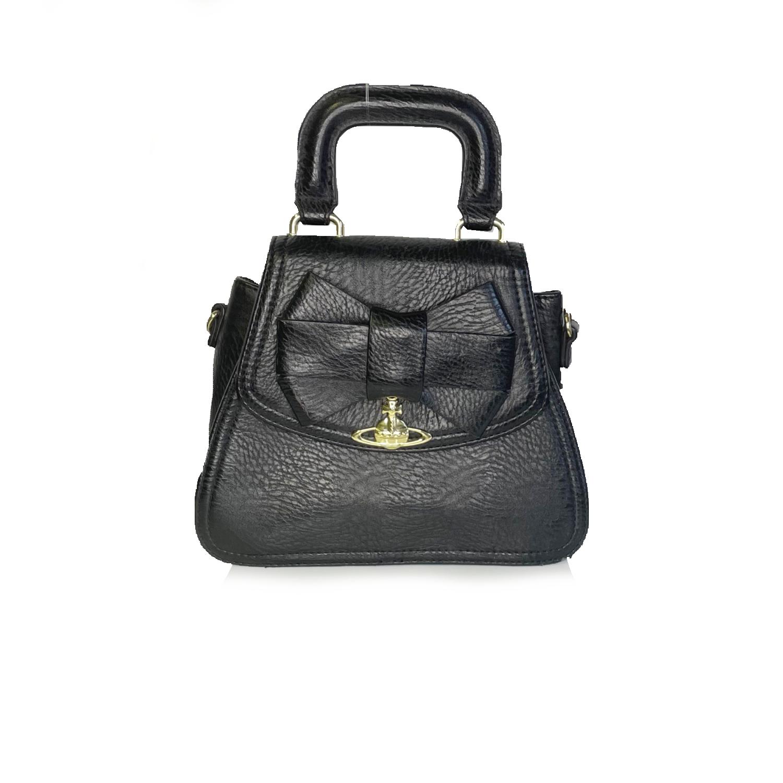Vivienne Westwood Top Handle Orb Bow Bag in Black   NITRYL