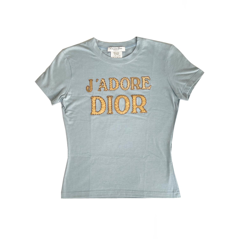 Vintage Dior 'J'adore' Patchwork T Shirt in Baby Blue   NITRYL