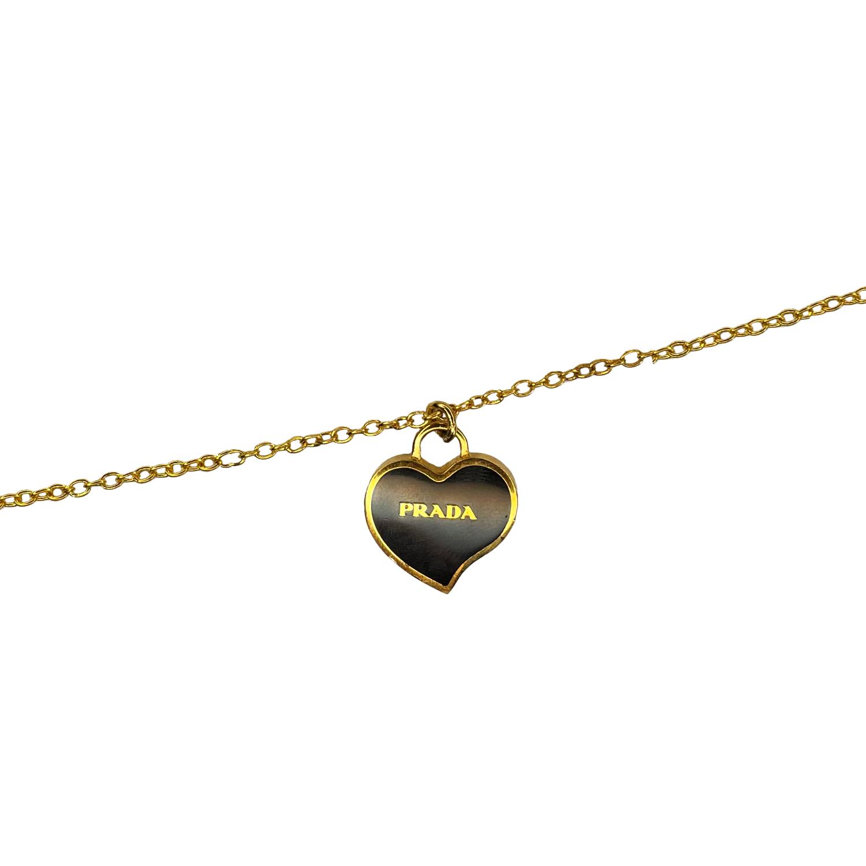 Reworked Prada Heart Pendant Necklace in Black & Gold | NITRYL
