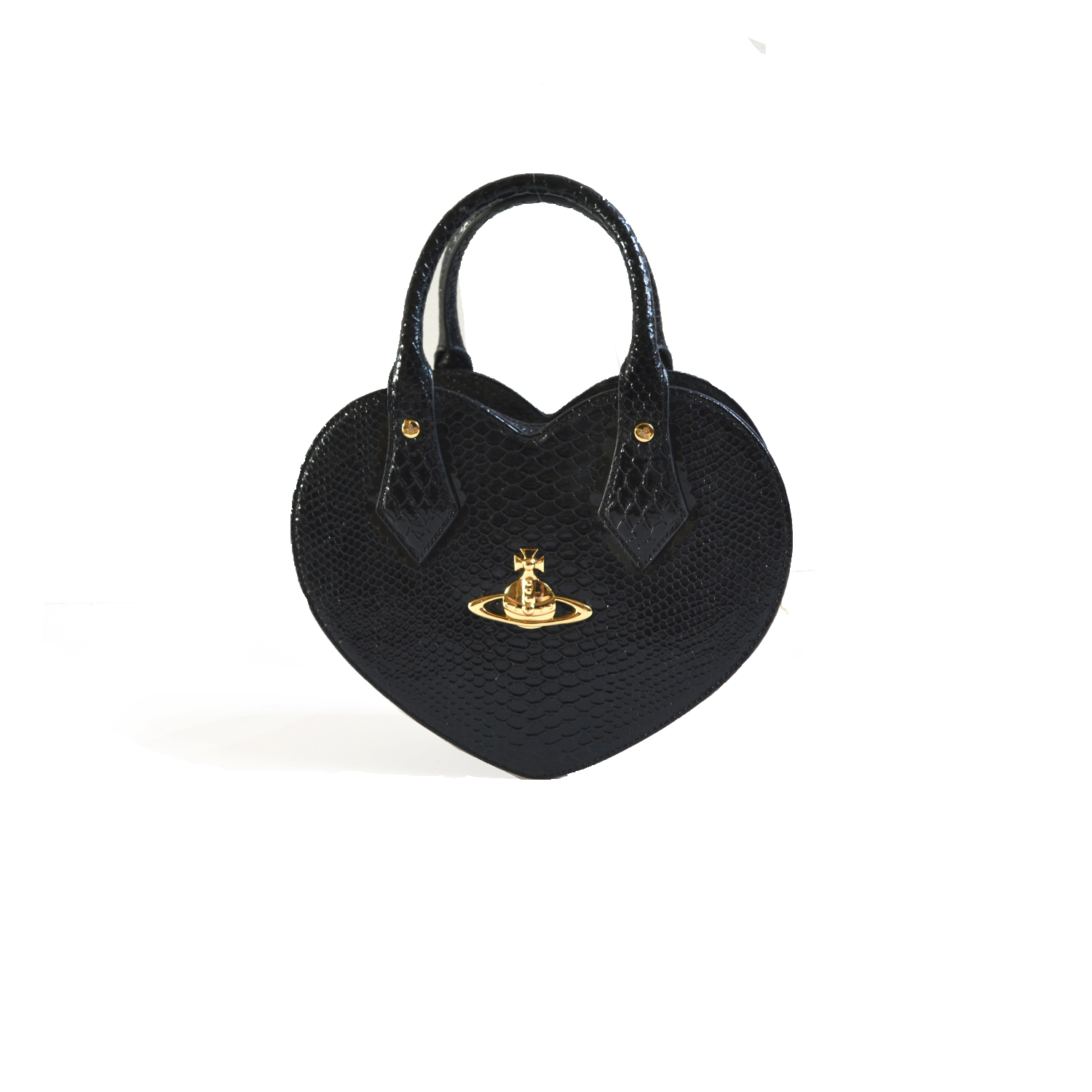 Vivienne Westwood Chancery Heart Bag in Black and Gold   NITRYL