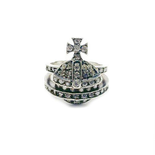 Vintage Vivienne Westwood Chunky Diamante Orb Ring in Silver | NITRYL