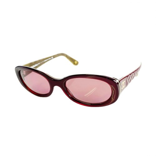 Vintage Chanel Chunky Sunglasses in Maroon Red with Gold Logo | NITRYL