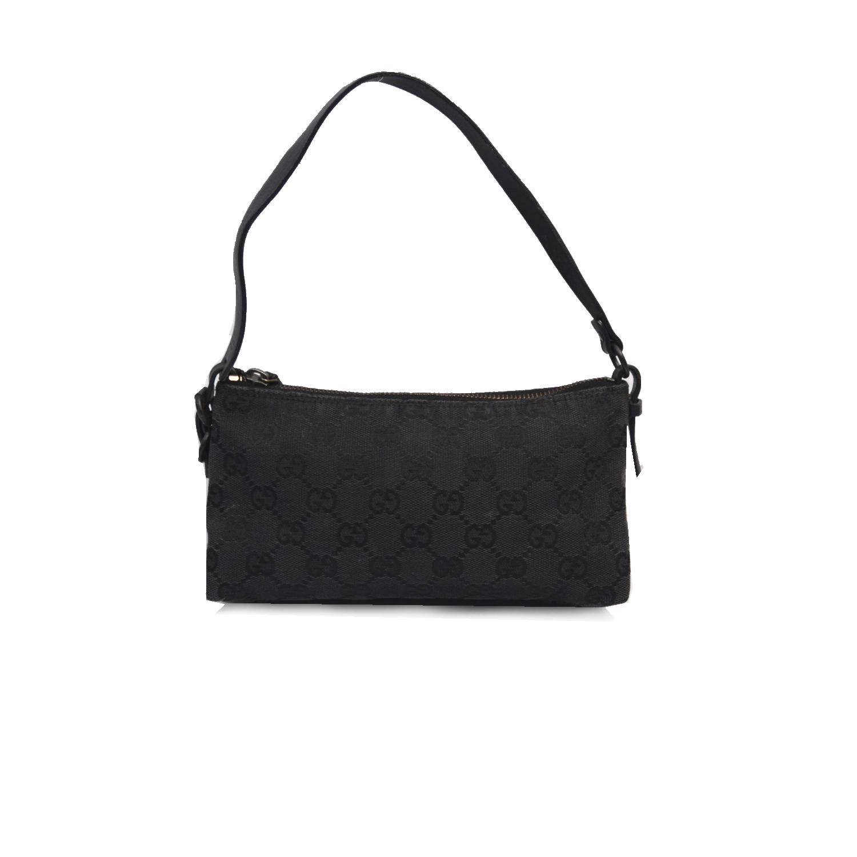 Vintage Gucci Monogram Pochette Mini Shoulder Bag in Black | NITRYL