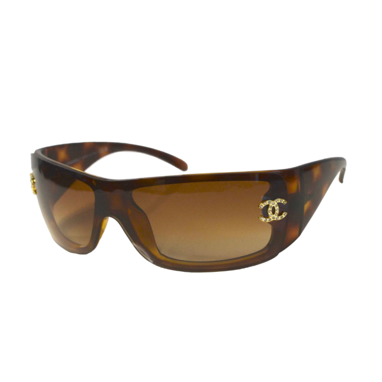 Vintage Chanel Diamante Sunglasses in Tortoiseshell Brown | NITRYL
