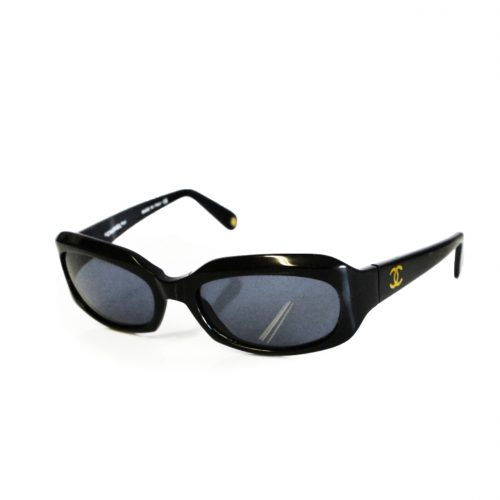 Chanel Chunky Rectangular Sunglasses in Black with Gold Logo | NITRYL