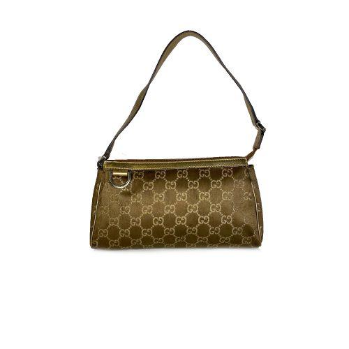 Vintage Gucci Monogram Pochette Mini Shoulder Bag in Brown and Gold | NITRYL