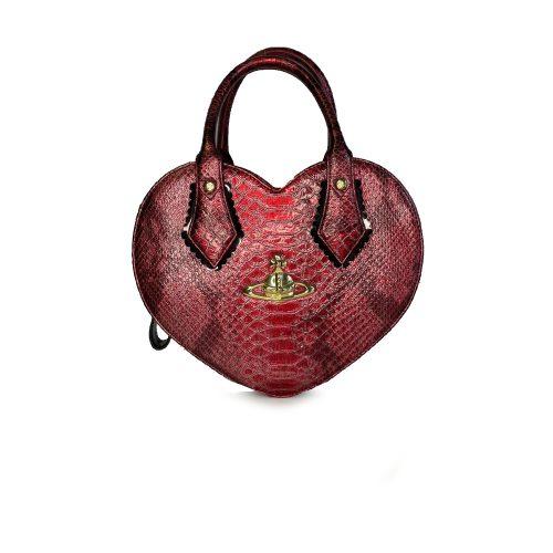 Vivienne Westwood Chancery Heart Faux Snakeksin Bag in Red | NITRYL