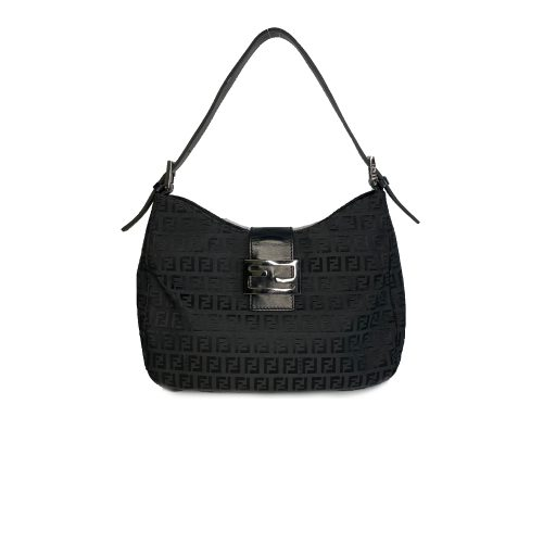 Vintage Fendi Zucchino Monogram Shoulder Bag in Black | NITRYL