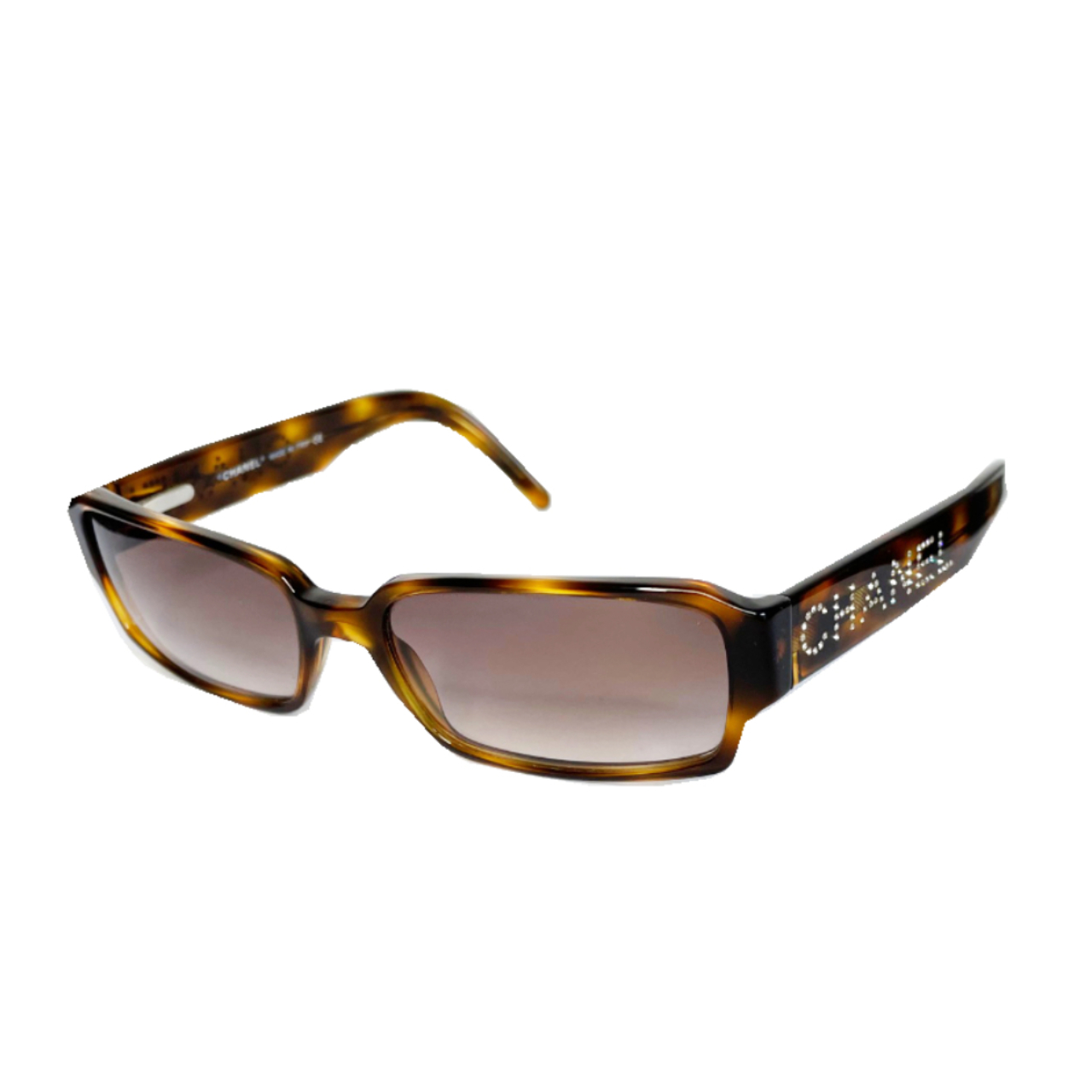 Vintage Chanel Diamante Spellout Sunglasses in Tortoiseshell Brown | NITRYL
